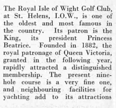 Royal Isle of Wight Golf Club, The Duver, St Helen's. Article from The Bystander October 1936.
