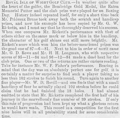Royal Isle of Wight Golf Club, The Duver, St Helen's. Article from The Illustrated Sporting & Dramatic News January 1894.