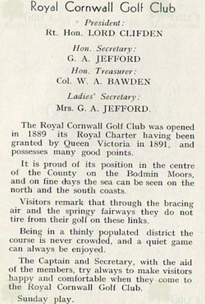 Royal Cornwall Golf Club, Bodmin. Club booklet from the 1930s.