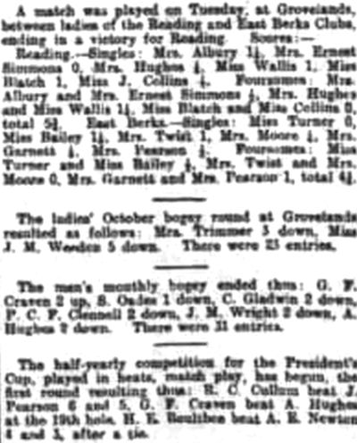 Reading Golf Club, Grovelands Course, Berkshire. Competition results from November 1910.