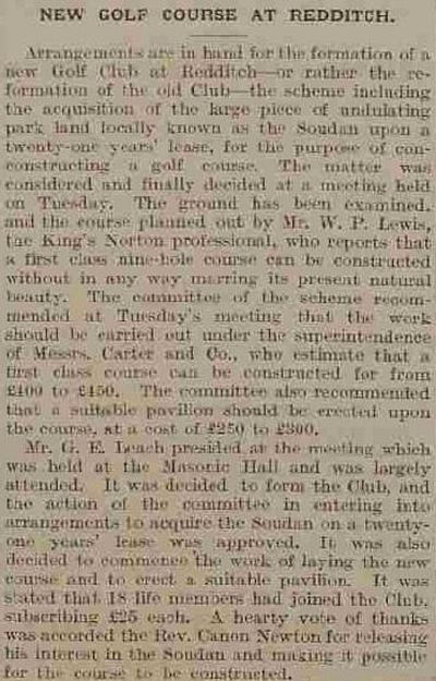 Redditch Golf Club, Pitcher Oak Course. Report on the new course in January 1913.
