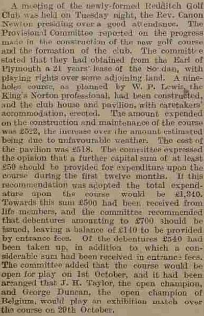 Redditch Golf Club, Pitcher Oak Course. Report on a meeting held in September 1913.