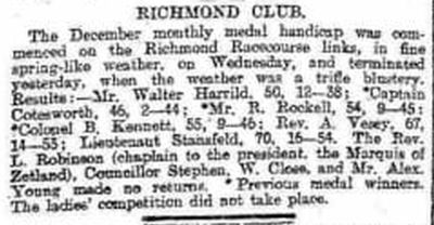 Richmond Golf Club, Yorkshire. Newspaper report from December 1894.