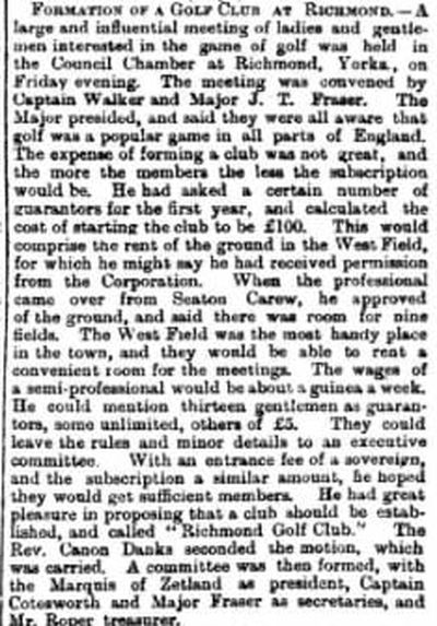 Richmond Golf Club, Yorkshire. Newspaper report on the formation of the club.