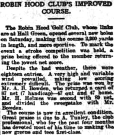 Robin Hood Golf Club, Hall Green, Birmingham. Course improvements in March 1905.