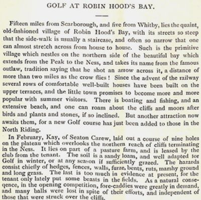 "Robin Hood's Bay Golf Club, North Yorkshire. Report on the golf club and course from ""Golf"" in May 1895."