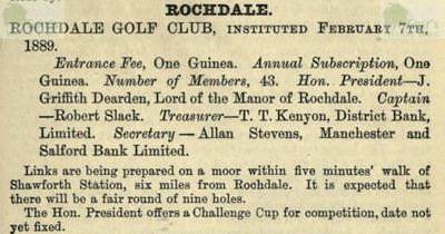 Rochdale Golf Club, Lancashire. Entry from the Golfing Annual 1888/89.