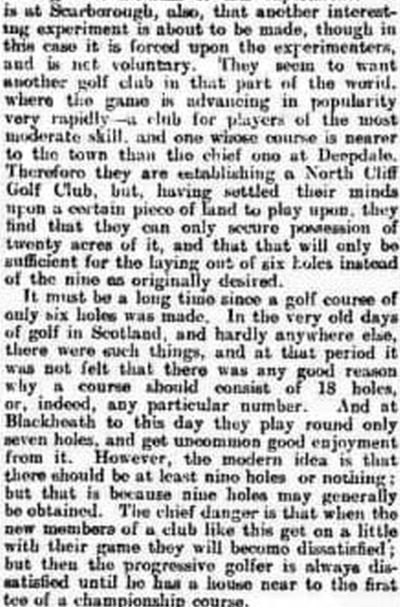 Scraborough North Cliff Golf Club, Burniston Road. Henry Leach writes about the North Cliff Golf Club in December 1909.