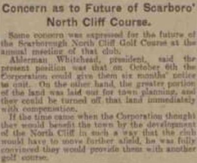 Scarborough North Cliff Golf Club, Burniston Road. Threat to the course in June 1924.
