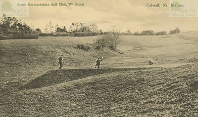 South Herefordshire Golf Club, Colwall, Malvern. Golfers on the seventh green.