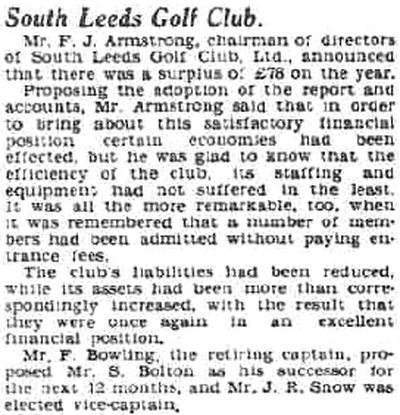 South Leeds Golf Club, Beeston Course. Report on the annual meeting in March 1934.