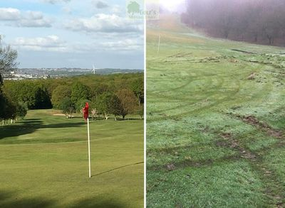 South Leeds Golf Club, Beeston Course. Picture showing vandalism to the course.