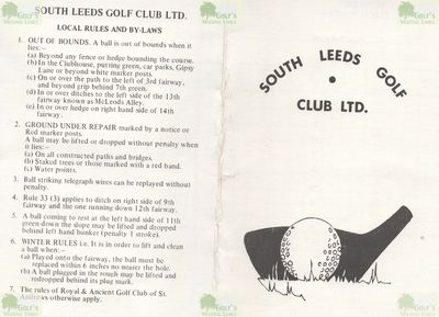 South Leeds Golf Club. Scorecard, course plan and local rules from 1979.