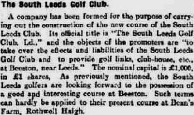 South Leeds Golf Club, Beeston Course. Report on the new course in November 1914.