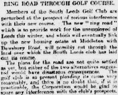 South Leeds Golf Club, Beeston Course. Report on the new road through the course in January 1921.