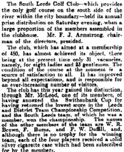 South Leeds Golf Club, Beeston Course. Prize presentation in July 1927.