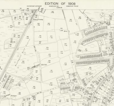 Southport & Ainsdale Golf Club, Lancashire. Location of the earlier course  on the 1908 O.S map.