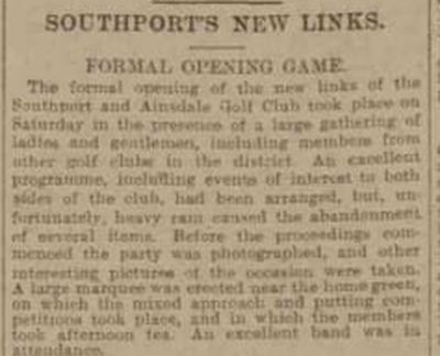 Southport & Ainsdale Golf Club, Lancashire. Report of the opening of the new links 1907.