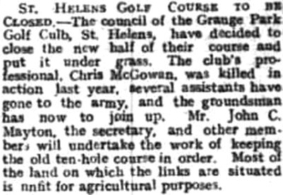 St Helens Golf Club, Lancashire. Course to be closed in April 1917.