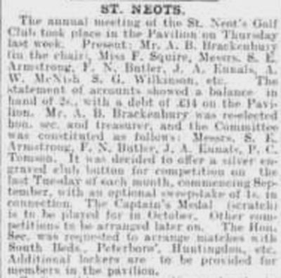 St Neots Golf Club, Cambridgeshire. The annual meeting in September 1901.
