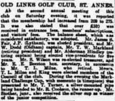 St Annes Old Links Golf Club, Lytham. The annual meeting in July 1903.