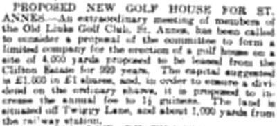 St Leonards Golf Club, Hastings, Sussex. The proposed new clubhouse May 1904.AC