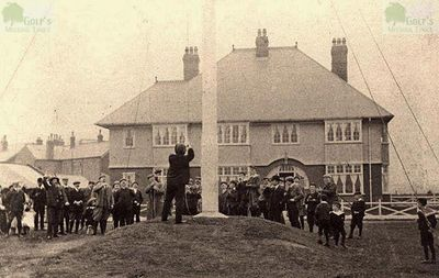 St Annes Old Links Golf Club, Mayfield Road, Lytham. Raising the flag on opening day on the first course.