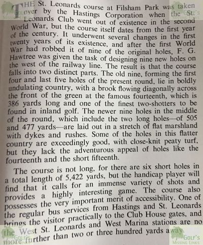 St Leonards Golf Club, Hastings, Sussex. Article from Browning's Golf in Surrey 1950s.