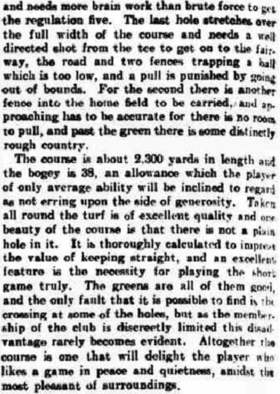Tadcaster Golf Club, Yorkshire. Report on the club and course from October 1907.