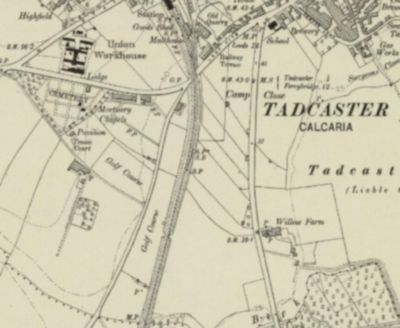 Tadcaster Golf Club, Yorkshire. The golf course on the 1909 Ordnance Survey Map.