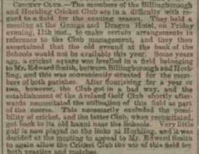 The Aveland Golf Club, Horbling, Lincs. Report from the Grantham Journal March 1904.