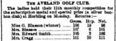 The Aveland Golf Club, Horbling, Lincs. Competition result from November 1897.