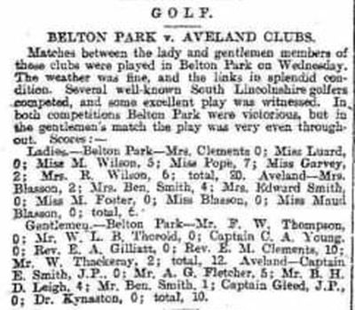 Aveland Golf Club, Horbling, Lincs. Match report from the Leeds Mercury December 1894.