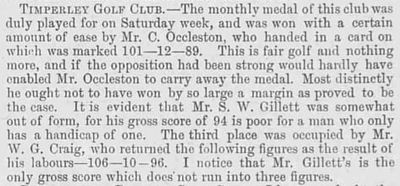 Timperley Golf Club, Cheshire. Report and result of the January 1894 medal.