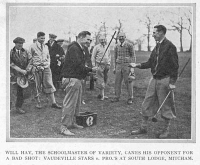 Tooting Bec Golf Club, Mitcham Common, London. Will Hay playing on the South Lodge course.