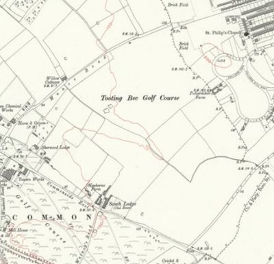 Tooting Bec Golf Club, South Lodge. The clubhouse and course on the 1914 O.S. map.