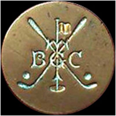 Tooting Bec Golf Club, London. Club button.