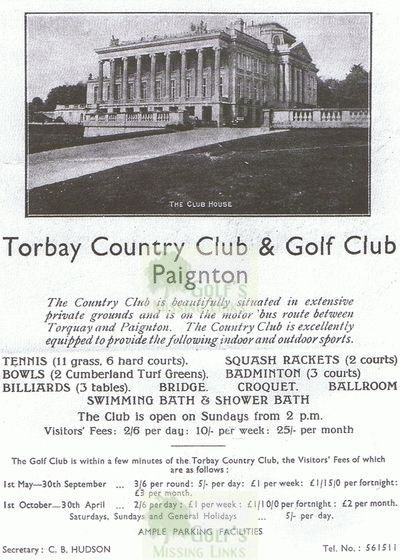Torbay Golf & Country Club, Paignton. A 1930s advert.