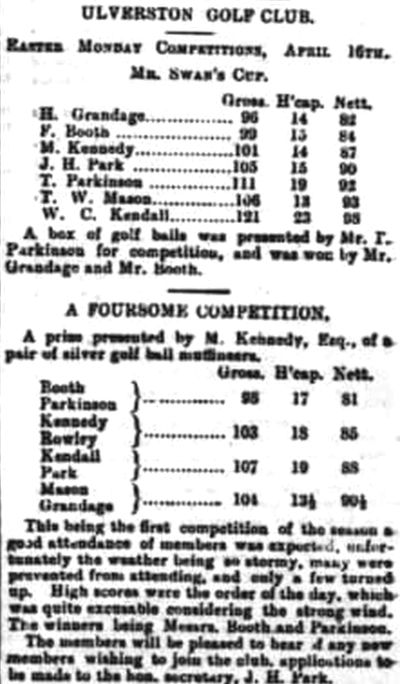Ulverston Golf Club, Cumbria. Report on the Easter Competitions in April 1900.