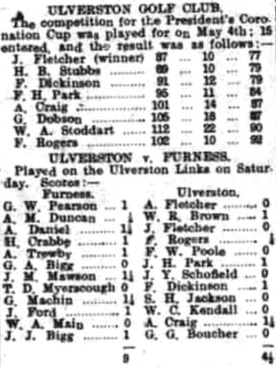 Ulverston Golf Club, Cumbria. Competition and match results from May 1907.