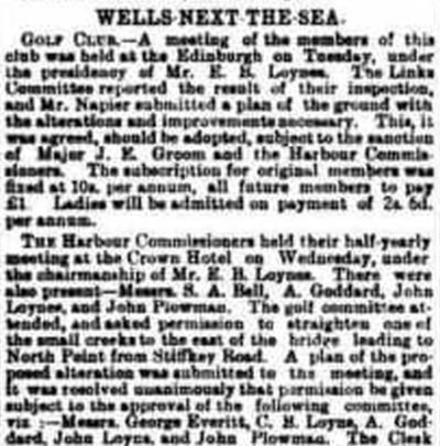 Wells-Next-The- Sea Golf Club, Norfolk. Report of a meeting in July 1894.