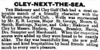 Wells-Next-The-Sea Golf Club, Norfolk. Result of a match between Blakeney and Wells July 1895.