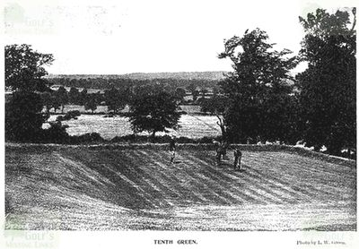 Wembley Golf Club, Middlesex. The square tenth green.