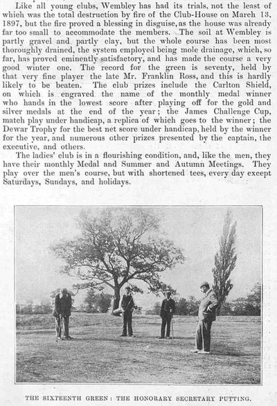 Wembley Golf Club. Article from The Sketch January 1899.