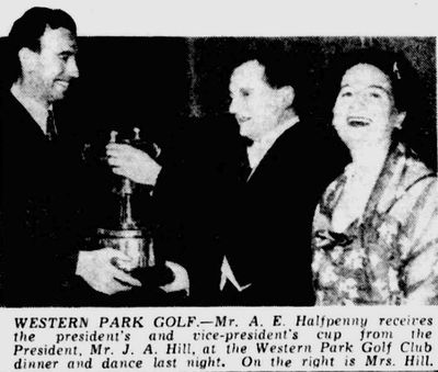 Western Park Golf Club, Leicester. Prize presentation in November 1950.