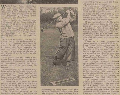 Western Park Golf Club, Leicester. Article from the Leicester Daily Mercury in August 1939.
