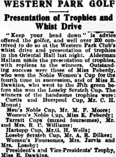 Western Park Golf Club, Leicester. Report on prize presentation in November 1931.