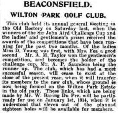 Wilton Park Golf Club, Beaconsfield. Announcement of the new club and course in July 1913.