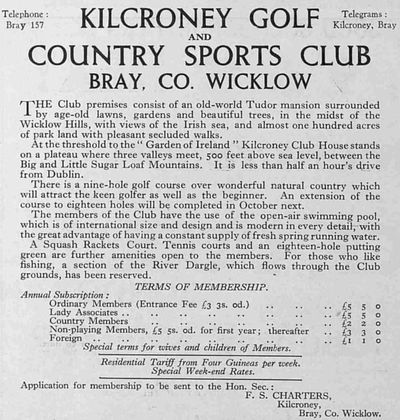 Kilcroney Golf Club, County Wicklow. Illustrated Sporting & Dramatic News July 1935.