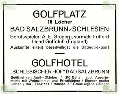 Bad Salzbrunn Golfplatz. Advert from the 1920/30s for the Hotel
